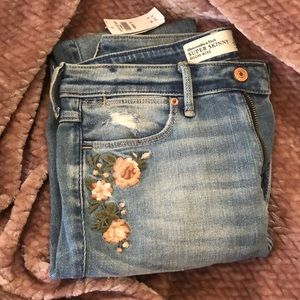 Abercrombie floral skinny jeans